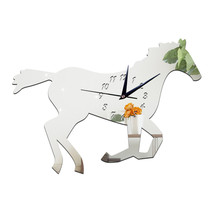 3D Silent Mirror Wall Clock Creative Chinese Style Horse   silver - $20.99