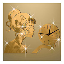 Wall Clock Creative Living Room Mirror Girl Sticking   golden - $27.99