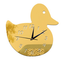 Kid Room Decoration Wall Clock Duck DIY Mirror    golden - $20.99