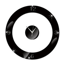 Home Decoration Wall Clock 3D Mirror Circle Sticking    black - $20.99