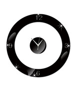 Home Decoration Wall Clock 3D Mirror Circle Sticking    black - €19,24 EUR