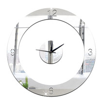 Home Decoration Wall Clock 3D Mirror Circle Sticking    silver - $20.99