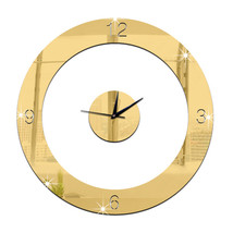 Home Decoration Wall Clock 3D Mirror Circle Sticking   golden - $20.99