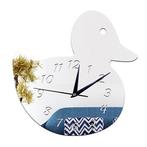 Kid Room Decoration Wall Clock Duck DIY Mirror    silver - $20.99