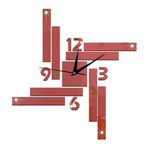 Mirror Wall Clock Stripe Blocks Geometry    red - $27.99