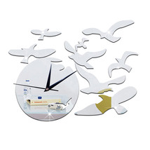 Decoration Seagull above the Sea Quartz Silent Wall Clock   silver - $20.99