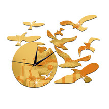 Decoration Seagull above the Sea Quartz Silent Wall Clock   golden - $20.99