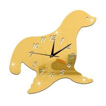 Creative Decoration DIY Quartz Seal Mirror Wall Clock    golden - $20.99