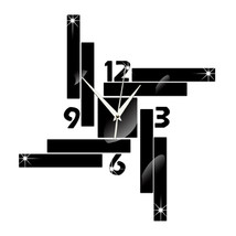 Mirror Wall Clock Stripe Blocks Geometry    black - $27.99