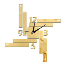 Mirror Wall Clock Stripe Blocks Geometry    golden - $27.99