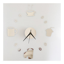Coffee Cup Silent Casual Wall Clock Decoration Sticking   silver - $20.99