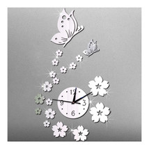 Mirror Wall Clock Living Room 3D Butterfly Flower   silver mirror - $20.99