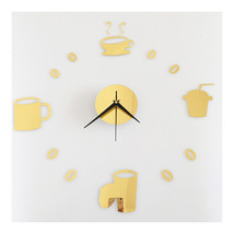 Coffee Cup Silent Casual Wall Clock Decoration Sticking   golden - $20.99