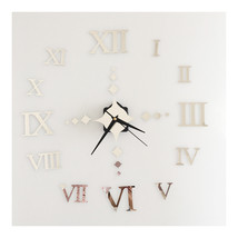Roman Digit Wall Clock Decoration Sticking    silver - $20.99