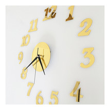 Digit Mirror Casual Wall Clock Deocration   golden - $20.99