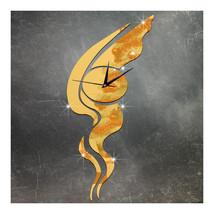 Living Room Wall Clock Sticking 3D Acrylic Silent Abstract Art   golden - $20.99