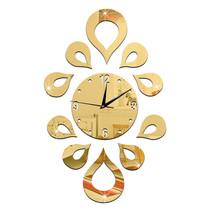 Creative Flower Mirror Quartz Wall Clock   golden - $20.99