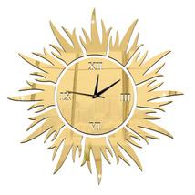 Sun Decoration Wall Clock Mirror Quartz Living Room   golden - $20.99