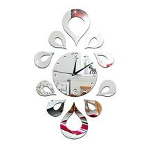 Creative Flower Mirror Quartz Wall Clock   silver - $20.99