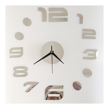 Digit Mirror Casual Wall Clock Decoration Sticking   silver - $20.99