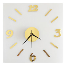 Digit Mirror Wall Clock Casual Decoration   golden - $20.99