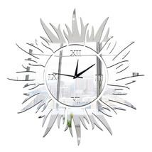 Sun Decoration Wall Clock Mirror Quartz Living Room   silver - $20.99