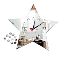 Living Room Silent Wall Clock Five-pointed Star Sticking   silver:30*23cm - $20.99