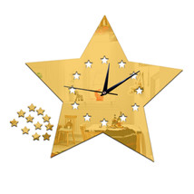 Living Room Silent Wall Clock Five-pointed Star Sticking    golden:30*23cm - $20.99