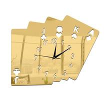 Living Room Wall Clock Creative 3D Poker Digit Sticking    golden - $20.99