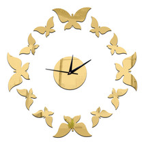 Living Room Decoration Silver Butterfly Wall Clock    golden - $20.99