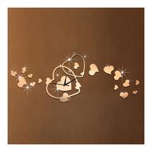 Heart Wall Clock Mirror Quartz DIY Decoration   golden - $20.99