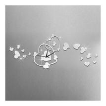 Heart Wall Clock Mirror Quartz DIY Decoration   silver - $20.99