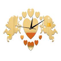 Acrylic DIY Wall Clock Mirror Cupid 3D Sticking   golden - $21.99