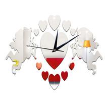 Acrylic DIY Wall Clock Mirror Cupid 3D Sticking   silver - $21.99