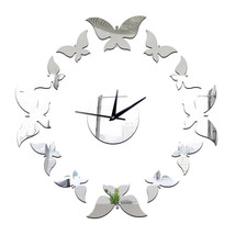 Living Room Decoration Silver Butterfly Wall Clock   silver - $20.99