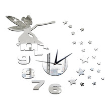 Wall Clock Mirror Living Room Angle Star Silent   silver - $27.99
