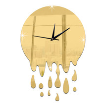 Acrylic Wall Clock Mirror Decoration   golden without scale - $20.99
