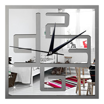 Living Room Wall Clock Decoration Digit Mirror Sticking  silver - $21.99