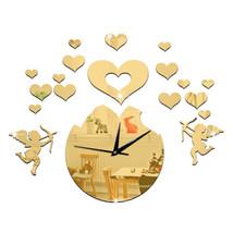 Love Heart Cupid Mirror Living Room 3D Decoration Wall Clock   golden - $23.99