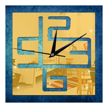 Living Room Wall Clock Decoration Digit Mirror Sticking   golden - $21.99