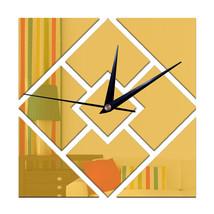 Decoration 3D Geometry Rhombus Mirror Sticking Wall Clock   golden - $21.99