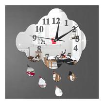 Creative 3D Silent Wall Clock Sticking Raindrop Mirror   silver - $21.99