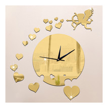 Creative Home Decoration Sticking Wall Clock Love Heart Cupid Mirror   g... - $21.99