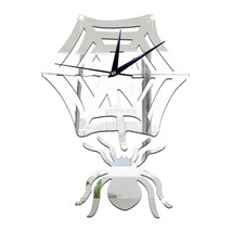 Kid Room Living Room Creative Wall Clock Spider Mirror Silent   silver - $21.99