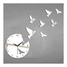 Creative Wall Clock Mirror Sticking White Pigeon   silver - $23.99