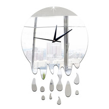 Acrylic Wall Clock Mirror Decoration   silver without scale - $20.99