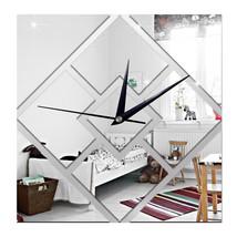 Decoration 3D Geometry Rhombus Mirror Sticking Wall Clock   silver - $21.99
