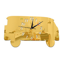 Creative Minibus Mirror Wall Clock Silent Acrylic Sticking    golden - $21.99
