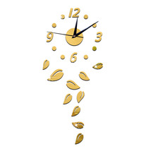 Acrylic Creative Home Decoration Sticking Wall Clock   golden - $20.99