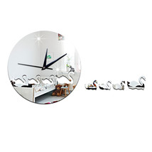 Swan Mirror Wall Clock Kid Room DIY Creative Sticking   silver - $22.99